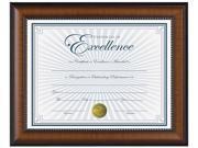 "DAX N3028N1T Prestige Document Frame, Walnut/Black, Gold Accents, Certificate, 8 1/2 x 11"""