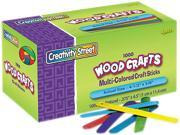 Chenille Kraft 3775-02 Colored Wood Craft Sticks, 4 1/2 X 3/8, Wood, Assorted, 1000/Box