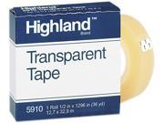 "Highland 5910-1/21296 Transparent Tape, 1/2"" x 1296"", 1"" Core, Clear"