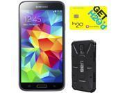 Samsung Galaxy S5 Charcoal Black 3G Quad-Core 2.5GHz Unlocked GSM Phone + UAG Black Case + H2O SIM Card