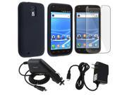Insten Black Rubber Skin Case+Car+Home Charger+Film For Samsung Galaxy S2 T989 T-Mobile