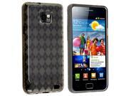 Insten Smoke Argyle Checker TPU Rubber Skin Case with Black Headset Dust Cap with Mini Stylus Compatible with Samsung Galaxy S II / S2 i9100