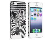 Insten White/ Black Zebra Head Snap-on Rubber Coated Case Cover + 3D Diamond Blink Screen Protector Compatible with Apple iPhone 5