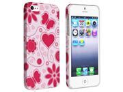 Insten White Red Heart Butterfly Flower Style 48 Rubber Coated Case Cover + 2 LCD Kit (Front & Back) Anti-Glare Screen Cover Compatible With Apple iPhone 5 / 5s 898018