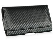 HTC Evo Shift/HTC HD2/Motorola Droid 2/Samsung Epic 4G/Samsung Galaxy S Carbon Fiber #1 Black Horizontal Leather Pouch