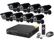 Aposonic A-BR18B8-C500 8 Ch DVR + 8 CCD 420 TVL Bullet Cameras + 500GB pre-installed HDD with H.264 Level Kit Solution, HDMI Port,  Mac OS X App fully supported