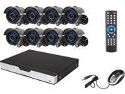 Zmodo KDH6-CARQZ8ZN 16 Channel H.264 DVR Kit (No HDD), 8 X 600TVL, 3.6mm Wide Angle Lens, 24 IR LEDs for 65ft Night Vision