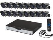 Zmodo KDH6-CARQZ6ZN-1T 16 Channel H.264 DVR Kit (1TB HDD), 16 X 600TVL, 3.6mm Wide Angle Lens, 24 IR LEDs for 65ft Night Vision