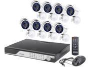 Zmodo KDC6-YARUZ8ZN 16 Channel H.264 Level 960H DVR Security System with 8 x 700TVL Night Vision w/IR Cut Outdoor Cameras (No HDD)