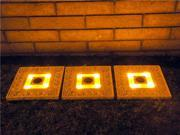 Homebrite Polyresin Garden Landscape Solar Lighted Stepping Stones, 30839, Square, Set of 3, White