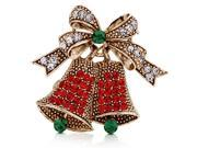 Vintage Inspired Christmas Bells in Crystal Brooch Pin