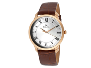 Men's Silver Dial Brown Genuine Leather