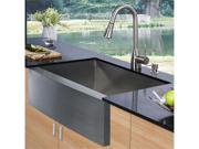 Vigo VG15003  Farmhouse Stainless Steel Kitchen Sink Faucet and Dispenser