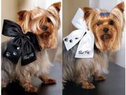Weddingstar 6013   Best Pet   Wedding Bow- White with Black Embroidery