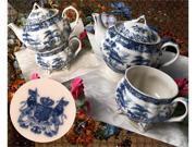 "IWDSC 01-58038 7.5"" Blue Porcelain Tea for One"