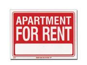 Bazic Products S-5-24 9 in. x 12 in. Apartment for Rent Sign - Box of 24