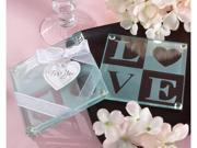 Kate Aspen 27058NA Clearly in Love LOVE Glass Coasters- Set of 2- Case of 72 sets