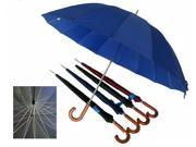 Conch 1220C 60 in. Arc 16 Ribs Jumbo Umbrella with Curve Wooden Handle and Wind-Proof - Assorted Colors