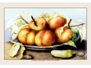 Buyenlarge 11579-3P2030 A Dish of Peaches with a Cucumber 20x30 poster