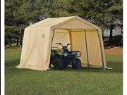ShelterLogic 70733 10×10×8 Peak Style Storage Shed, 1-.38 in.  Frame, Sandstone Cover