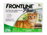 MERIAL 004FLTSP-CAT Frontline Plus Flea & Tick for Cats and Kittens 8 Weeks or Older, 3 Month-3 doses