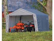 ShelterLogic 70443 12×12×8 Peak Style Storage Shed, 1-.38 in.  Frame, Grey Cover