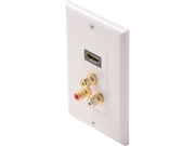 Steren 516-115WH White Decorator Style HDMI Feed-Thru Wall Plate with 3 RCA Stereo Jacks