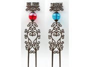IWGAC 0184S-0369 Cast Iron Garden Stakes Set of 2 Red & Blue Glass