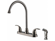 Ultra Faucets UF21043 Two-Handle Stainless Steel Kitchen Faucet With Matching Si