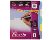 Avery Translucent Durable Write-On Reference Dividers Multi 5 Tab 16170 Pack Of 24