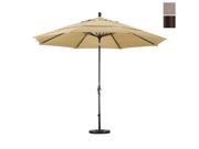 California Umbrella GSCU118117-F67-DWV 11 ft. Aluminum Market Umbrella Collar Tilt Bronze-Olefin-Champagne-DWV