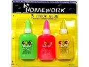 Bulk Buys Glue - Neon colors - 3 pack - Case of 48