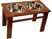 Dynamic Accents 52212 OAK 12 in. Tall Elevated Pet Feeder Classic Mahogany