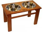 Dynamic Accents 52612 OAK 12 in. Tall Elevated Pet Feeder Classic Burnished Oak