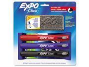Expo 1751662 Click Dry Erase Marker Starter Set, Eraser-Wipes-Markers, Chisel, Asstd, 3-Set