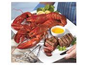 Lobster Gram STGR2C SURF & TURF GRAM DINNER FOR TWO WITH 1 LB LOBSTERS