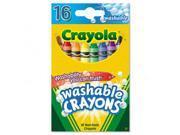 Crayola. 526916 Washable Crayons, Regular, 8 Colors, 16/Box