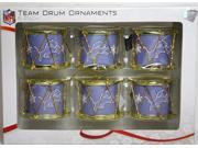 Forever Collectibles CG-RODRNFSET6DL Detroit Lions 2012 Plastic Drum 6 Pack Ornament Set