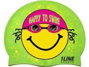 1Line Sports HTSGR Happy To Swim Silicone Swim Cap in Green