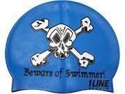 1Line Sports BOSRO Beware of Swimmer Silicone Swim Cap in Royal