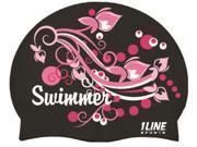 1Line Sports SSWBK Swimmer Swirls Silicone Cap in Black