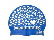 1Line Sports LSWRO Love Swimming Silicone Cap in Royal