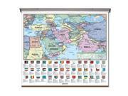 Universal Map 076254452X Middle East Essential Classroom Wall Map On Roller With Backboard