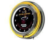 Miami Heat 2013 NBA Champions Chrome Neon Clock
