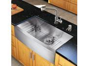 Vigo Industries VG15146 All in One 36-inch Farmhouse Stainless Steel Kitchen Sink and Faucet Set - Stainless Steel