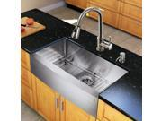 Vigo Industries VG15204 All in One 33-inch Farmhouse Stainless Steel Kitchen Sink and Chrome Faucet Set - Stainless Steel-Chrome