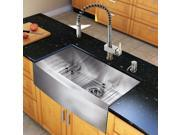 Vigo Industries VG15241 All in One 30-inch Farmhouse Stainless Steel Kitchen Sink and Faucet Set - Stainless Steel