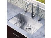 Vigo Industries VG15254 All in One 30-inch Undermount Stainless Steel Kitchen Sink and Faucet Set - Stainless Steel