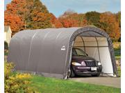 ShelterLogic 62780 12×20×8 ft. - 3,7x6,1x2,4 m Round Style Shelter, 1-.38 in.  - 3,5 cm 6-Rib Frame, Grey Cover