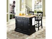 Crosley Furniture KF300063BK Butcher Block Top Kitchen Island in Black Finish with 24 in. Black X-Back Stools